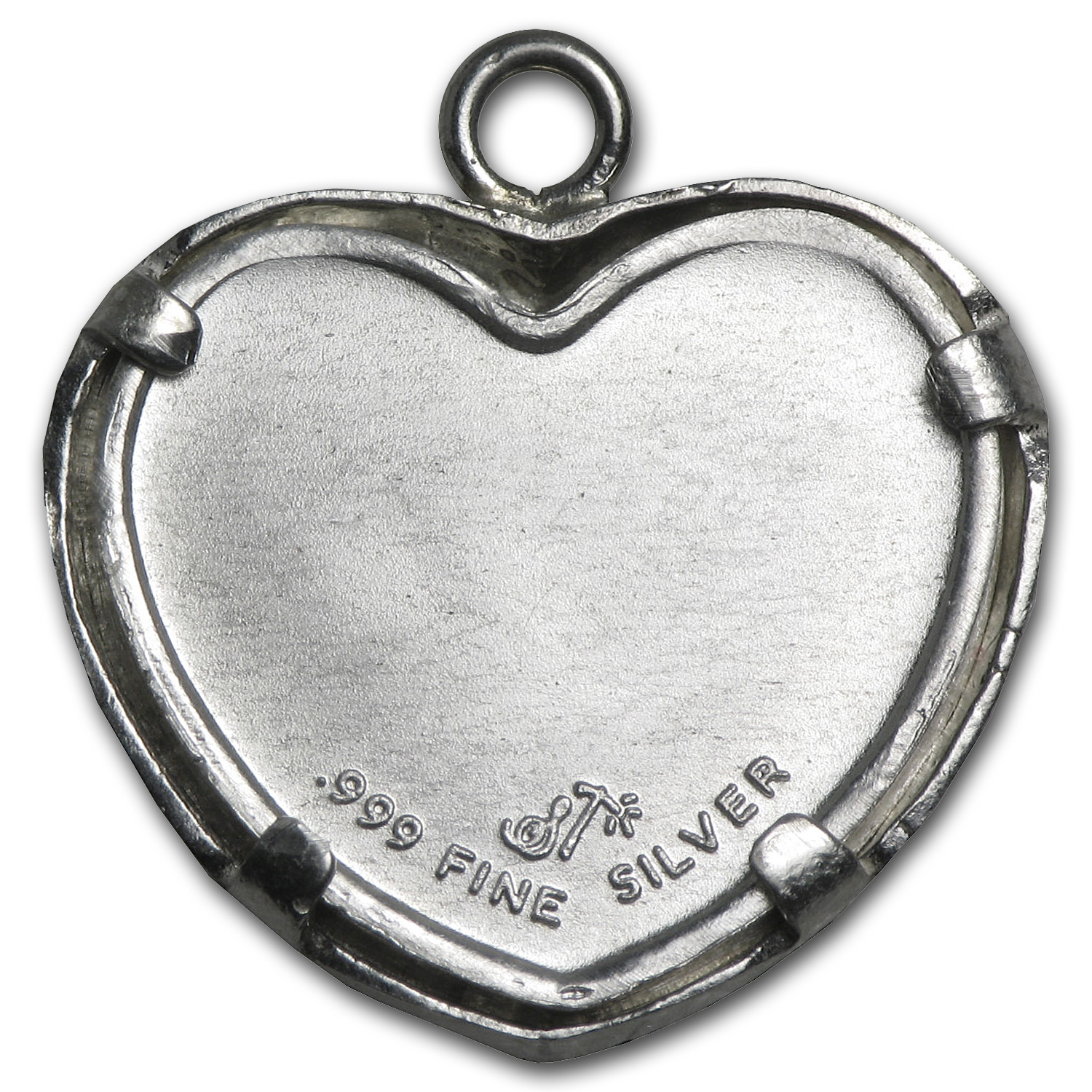 1/10 oz Silver Dove with Hearts Pendant (Diamond Cut-Heart Bezel)